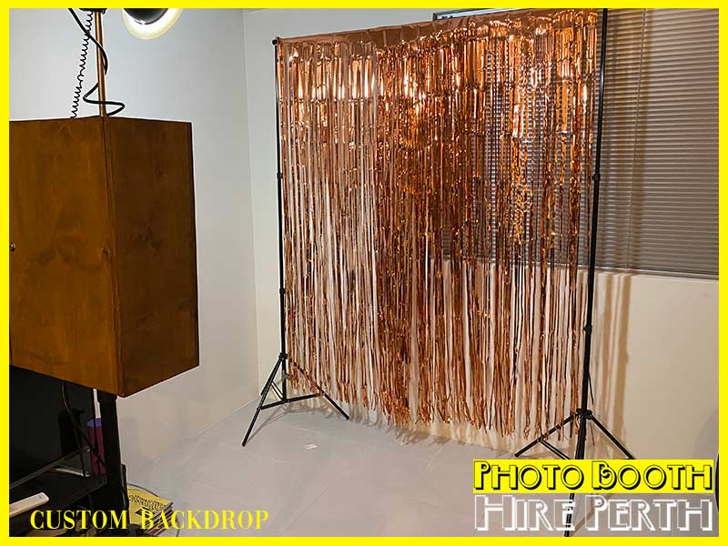 rose gold backdrop, hire, perth