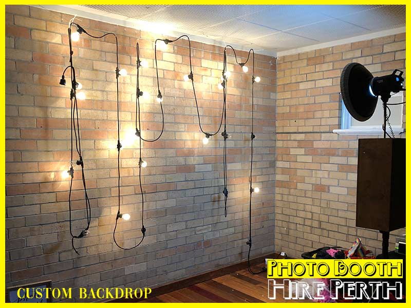 festoon lights, photo booth backdrop, perth